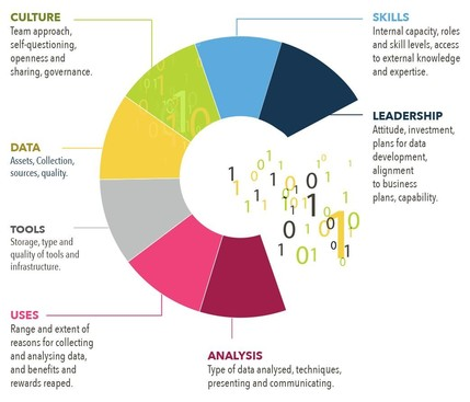 Data maturity wheel showing the areas is covers e.g. culture, skills etc.